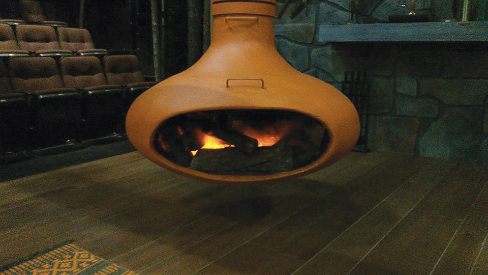 The completed fire effect is shown on the set at Triad Stage.
